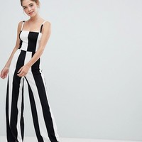 Bershka wide stripe jumpsuit in mono at asos.com