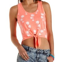 Neon Coral Tropical Print Knotted Tank Top by Charlotte Russe