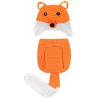 Cute Baby Halloween Costumes Fox Hat Weaving Baby Outfit Knit Crochet Pants with Tail BB006-O