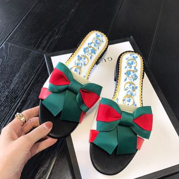 GUCCI Blue Flower Sylvie Bow Slipper