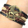 The Hunger Games Bracelet--Mockingjay Bracelet, Wax Cords and black Imitation Leather Bracelet, Friendship Gift