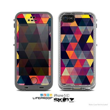 The Triangular Abstract Vibrant Colored Pattern Skin for the Apple iPhone 5c LifeProof Case