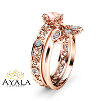 Filigree Design Morganite Wedding Ring Set in 14K Rose Gold Unique Peach Pink Morganite Engagement Set Art Deco Styled Wedding Ring Set