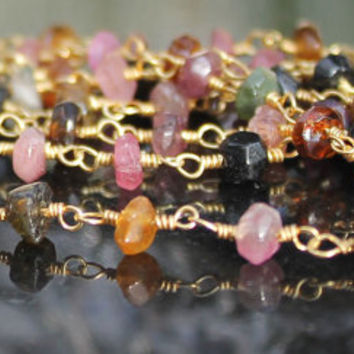 Tourmaline Faceted Rondelle Bead 24k Gold Wire Wrapped Rosary Chain