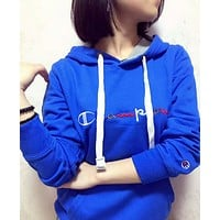 Champion  Color embroidery cotton  long sleeved Hoodie coat female Blue