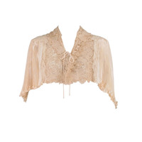 1940s Trousseau cape ivory pleated silk satin & Duchesse lace