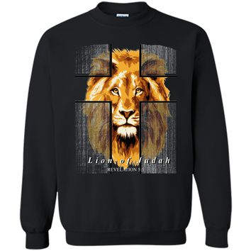 Christian Lion Cross Risen Lord Easter Gift T-Shirt Printed Crewneck Pullover Sweatshirt 8 oz