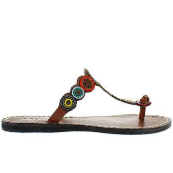 MIA Apache - Bright Multi Beaded/Brown Leather Flat Thong Sandal