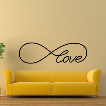 Love Infinity Wall Decal- Infinity Loop Wall Decal- Love Infinity Symbol Bedroom Wall Decal Love Bedroom Decor Wall Art Vinyl Lettering Z817