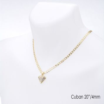 "Jewelry Kay style Men's Hip Hop Stoned Diamond Pendant 20"" / 22"" Cuban Chain Necklace Set CP 218 G"
