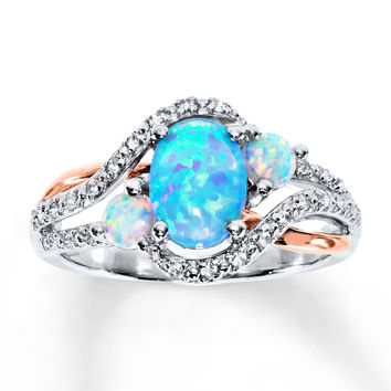 Lab-Created Opal & Lab-Created Sapphire Ring St. Silver/10 Gold