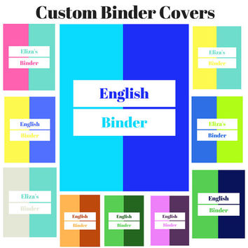 Printable Custom Two-Color Binder Cover Sets | Colorful Binder Insert | Binder Insert | Custom Printable Binder Cover | Teacher Journal