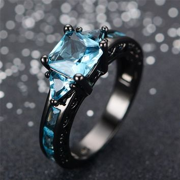 Size 6-10 Classical Jewelry Princess Cut Light Blue Wedding Ring 10KT Black Gold Filled CZ Women Vintage Engagement Rings