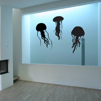 Vinyl Wall Decal Sticker Bedroom Jellyfish Deep Sea Fish Octopus Gift Bathroom R1656