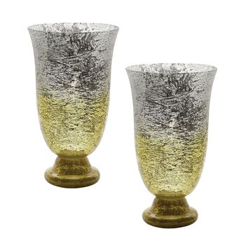 Lemon Ombre Flared Vase - Set of 2 Yellow Ombre