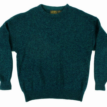 Vintage Eddie Bauer Pullover Sweater in Green - Forest Heather Wool Jumper Ivy League Menswear - Men's Size Extra Large XL