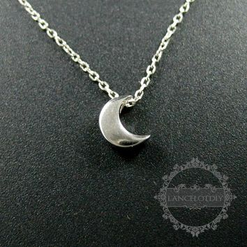 16inches 8mm rhodium plated 925 sterling solid silver tiny moon pendant charm necklace 6360490
