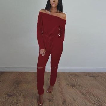 Rompers Womens Jumpsuit 2016 Autumn ZANZEA Sexy Slash Neck Off Shoulder Long Playsuits Elastic Waist Hole Solid Casual Overalls