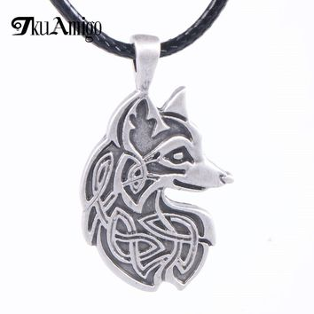 Fashion Fox Necklace Metal Viking Jewelry Foxes Pendant for Friend Gift Dropship 22*38mm A'189