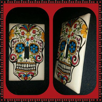 White Sugar Skull light switch cover with blue flower eyes handmade day of the dead