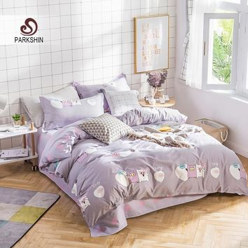 ParkShin Bedding Set Cute Pig Comforter Duvet Cover Sheet Elastic Bedspread Bed Linens Set Queen King Double Adult Bedclothes