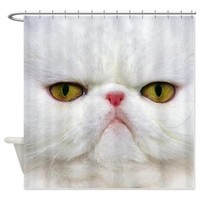White Cat Shower Curtain