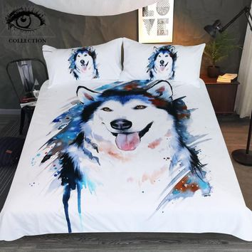 Husky by Pixie Cold Art Bedding Set Animal Printed Duvet Cover Watercolor Bed Set for Kids Cute Dog Pet Bedclothes 3-Piece