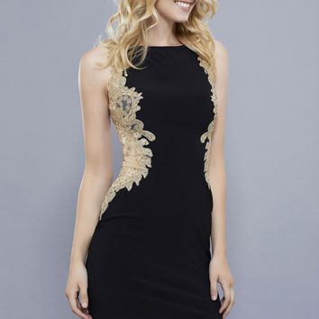 Jersey Dress with Gold Appliqué Back- Black