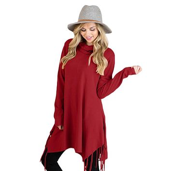 Chicloth Burgundy Cowl Neck Fringe Tunic