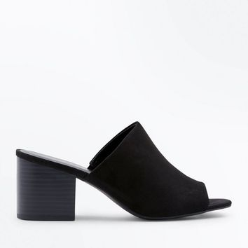 Black Suedette Block Heel Mules | New Look