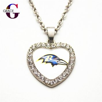 1pcs Fashion Baltimore Ravens Football Sports Charms Heart Crystal Necklace Pendant With 50cm Chains For Women Men Diy Jewelry