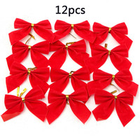 12pcs Red Christmas Tree Tie-on Bow Decorations Xmas Tree Bow Decoration Christmas Tree Ornaments Party Decoration Home Decor