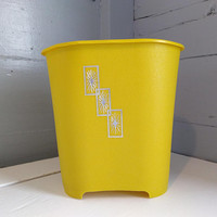 Vintage, Trash Can, Waste Basket, Mustard Yellow, Silver, Starburst, Bathroom Decor, Mid Century, Retro RhymeswithDaughter