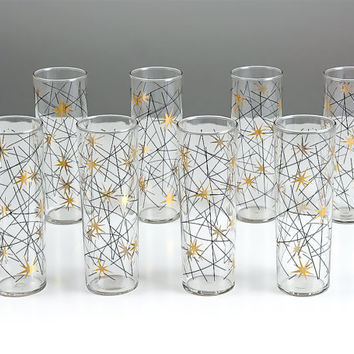 Vintage Atomic Tom Collins Glasses Set of Eight /  Mid Century Modern Barware Drinking Glass / Atomic Bar