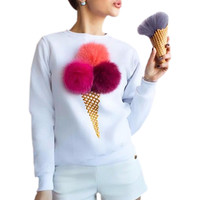 Women Casual Long Sleeve T-Shirt Novelty Colorful Cherry Ice Cream Plush Ball Print T Shirt Fashion Tops