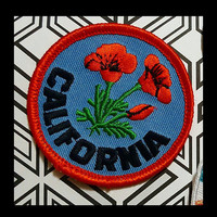 California Poppy Patch Orange, Green, Blue, Black