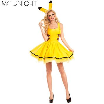 MOONIGHT M L XL Comic Movie Pikachu Costumes Women Cosplay Halloween Costume For Women Party Dress Adult Animal Sexy Clothing