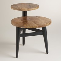 Wood and Metal Multi-Level Accent Table
