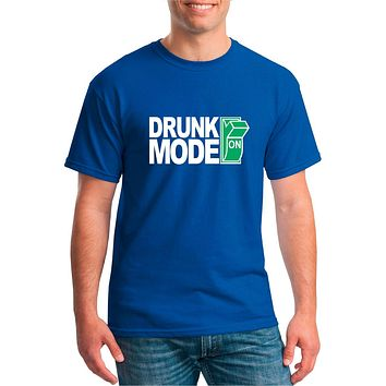 Funny Drinking Shirt - Drunk Mode On Unisex Cotton Tee