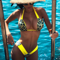Summer New Fashion Leopard Floral Leaf Print Straps Two Piece Bikini Swimsuit Yellow