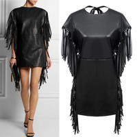 2016 Spring Autumn New Arrival Women PU Faux Leather Tassel Dress Lady Sexy BlackDresses Plus Size