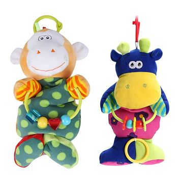 Baby Toys Soft Monkey Cattle Plush Doll Baby Rattles Ring Bell Crib Bed Hanging Animal Toy Teether Dolls Bed Educational Toys