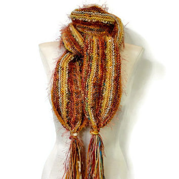 Womans Knit Scarf Wool Mohair Gold Blended Yarns Hand Knit