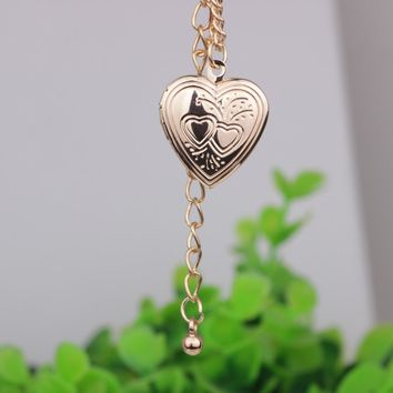 Double Heart Photo Frame Pendant Necklace Best Selling Can Put Photo Open and Close Necklaces Jewelry For Women and Men YP2725