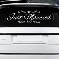 Just Married Car Sign 32x12, Wedding Decor,Bride & Groom, Wedding Gift, Just Married Window Clings, Custom Wedding Window Cling, Car Sticker