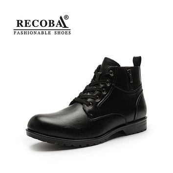 Men boots casual luxury genuine leather winter boots martin rain boots
