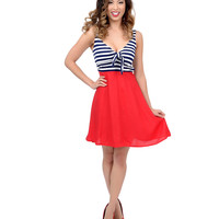 Navy Blue, Red & White Striped Color Block Betty Tie Nautical Flare Dress