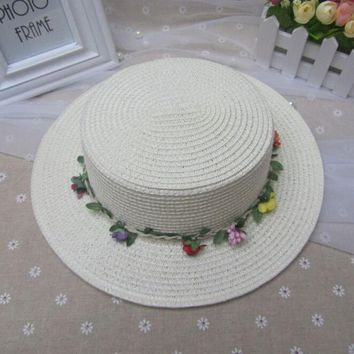 Summer Caps For Girl Fashion Pure Color Hats For Children Beach Garland Straw Hats Hat circumference 53-54cm