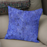 «Royal blue swirls doodle», Numbered Edition Coussin by Savousepate - From 25€ - Curioos