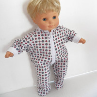 Bitty Baby Clothes Pajamas Pjs Sleeper Cotton Knit Zip Up Feetie White Grey Red Blue Tiny Flower Print Floral